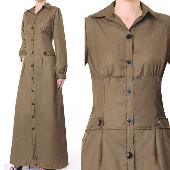 2233 TAUPE Cotton Shirtdress Career Islamic Abaya by MissMode21, $32.00