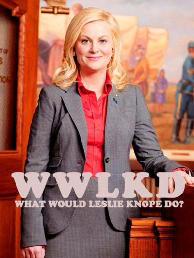 I love Leslie Knope's enthusiasm and belief that she can affect positive change in her local community.