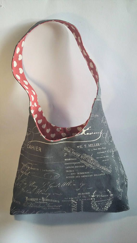 Grey Shoulder Tote Bag with hearts inside and matching zipped