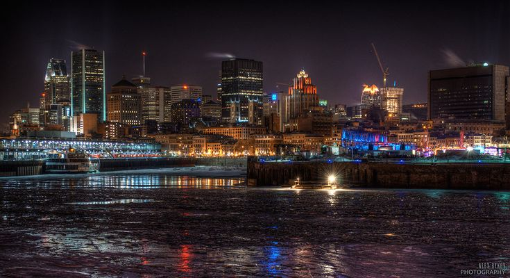 Montreal in mid-winter weather.. that's igloofest in the purple lights, where they dance the night away, OUTSIDE!