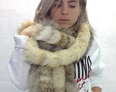 Real beige and yellow fox fur scarves , wrap, collar pelt .