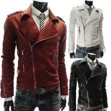 nieuwe hot mode heren winter casual breasted mannen overjas rits leren jacks jassen/mannen pu jasje wit rood zwart(China (Mainland))