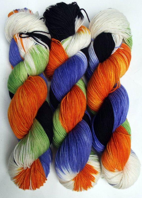 Fingering Sock Yarn Trick or Treat 100g by DashingDachs on Etsy