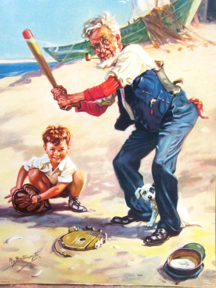Vovô joga beisebol com um menino. 1940. Óleo sobre tela. Ilustração para um calendário. Henry Hintermeister (Nova York, NY, USA, 1897 - 1972, USA). http://www.ebay.com/itm/ORIGINAL-Hy-Hintermeister-CALENDAR-sample-LITHO-Dow-Co-GRANDPA-boy-DOG-baseball-/290979396562