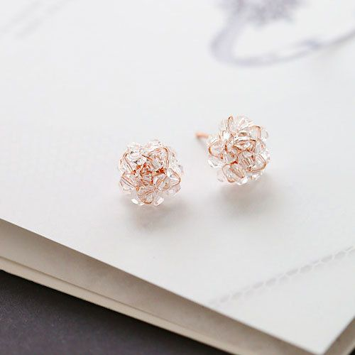 Blooming Crystal Rose Earrings by MAPSYstore on Etsy, $12.00