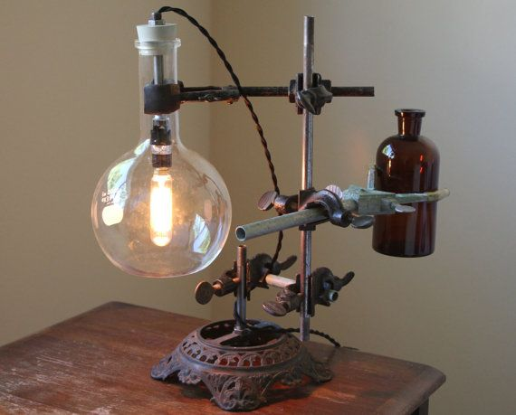 industrial lamp steampunk desk light industrial science chemistry table edison bulb w antique holophane shade and flower vase lamps steampunk and etsy
