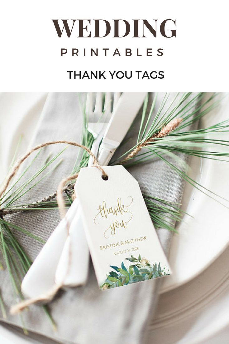 Greenery Wedding Tags, Gold Wedding, Thank You Tags, Wedding Favor Tags, Wedding Tag Template, Wedding Bags Tag, Tags Template