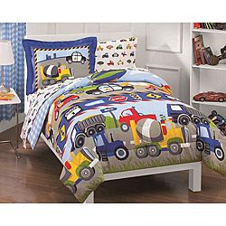This Trucks and Tractors bed in a bag set features a multicolored comforter with trucks, tractors, cars and planes printed on the front and reverses a blue and white gingham check. This bedding ensemble includes a coordinating 180 thread count sheet set.