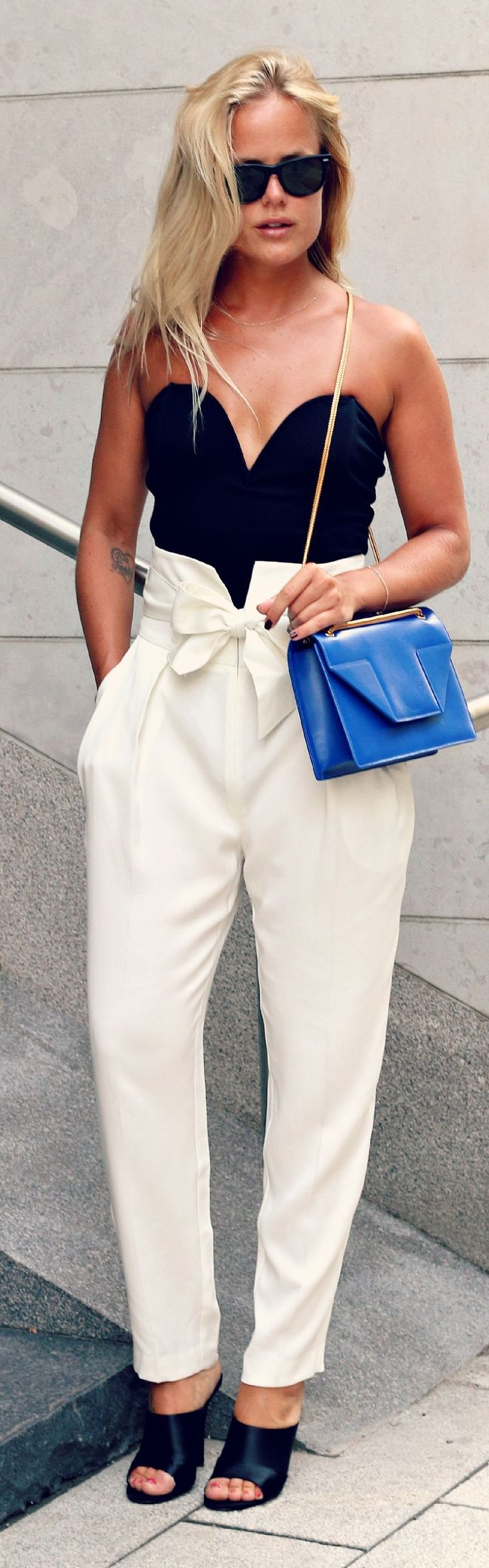 Angelica Blick For Bikbok White High Wide Waist Bow Tied Trousers