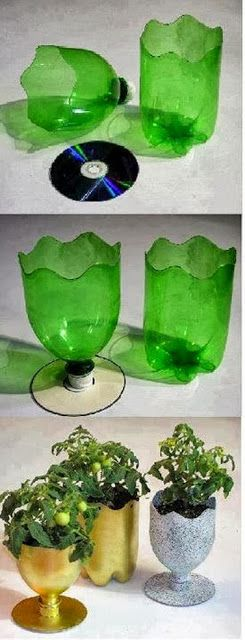 Recycling Simple Plastic Bottle Vase  It is astonishing how easy you can make such a beautiful vase by hand. You only need a plastic bottle which you should cut and a CD as a stay. When decorating them the vase looks like a masterpiece.