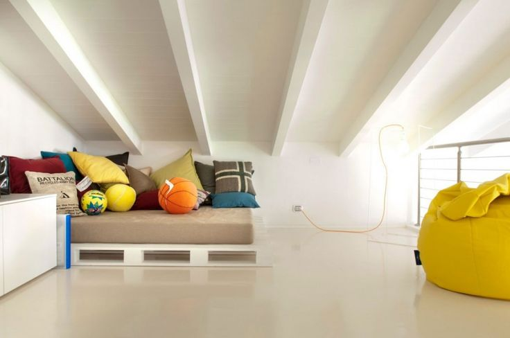 Penthouse: Beautiful Penthouse Design In Pisa, Italy with Bright Interior Designed By Lorenzo Mannini, Minimalist Interior Design of Kids Loft Bedroom in Penthouse Designed By Lorenzo Mannini with Brown Bedding and So Many Pillows and Yellow Bean Bag Chair