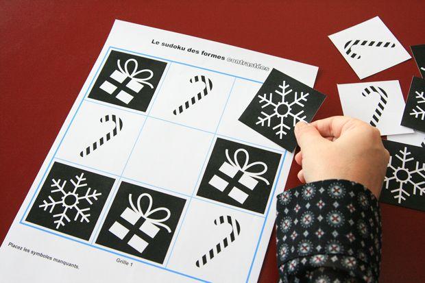 #jeux éducatif sur le thème de #Noël - apprendre en s'amusant !  - 3. Le sudoku simplifié à fort contraste visuel 7 grilles de jeu de difficulté croissante.  La règle du jeu est comprise dans le jeu. Les solutions sont disponibles à la fin du fichier. Cliquez ici pour imprimer le pdf du jeu.