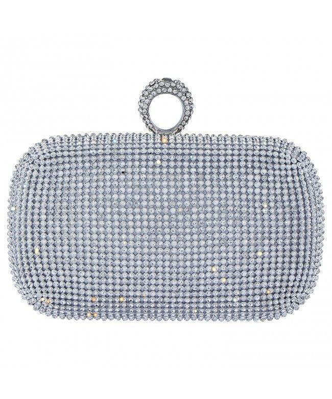 048011d97b Women s Shining Rhinestones Square Shape Knuckles Evening Bag Hard Case  Clutches Purses - Silver - C917YDUL3OM  Bags  Handbags  ClutchesBags   EveningBags   ...