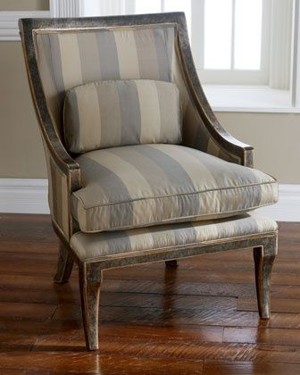 Horchow Chair | Horchow chair in cream, taupe & grey stripes | Furnishings