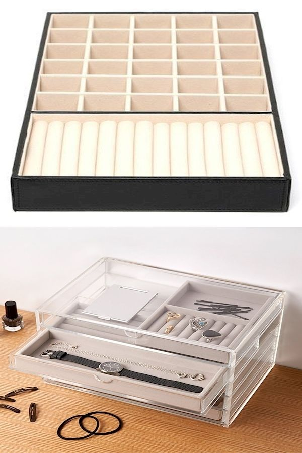 Jewellery Organiser Box Jewelry Storage Boxes Drawers Gold Ring Holder Pendant In 2020 Jewelry Organizer Box Ring Holder Pendant Jewellery Storage
