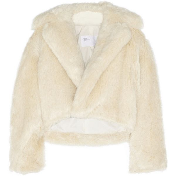 Toga Cropped faux fur jacket (4.930 VEF) ❤ liked on Polyvore featuring outerwear, jackets, ivory, white winter jacket, sash belt, ivory jacket, ivory faux fur jacket and ivory cropped jacket