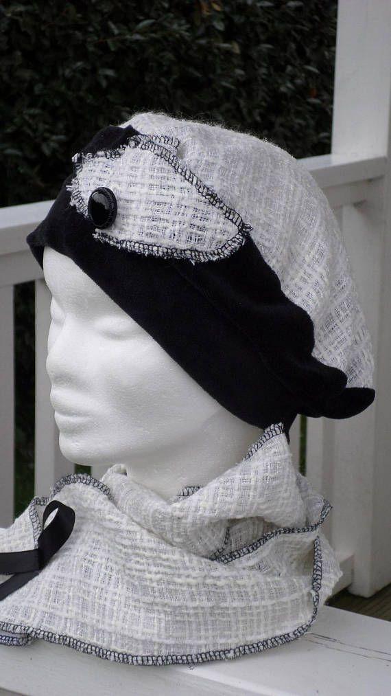 Bonnet chapeau béret turban velours et laine et écharpe femme confortable  unique hiver c90bf0ef9aa