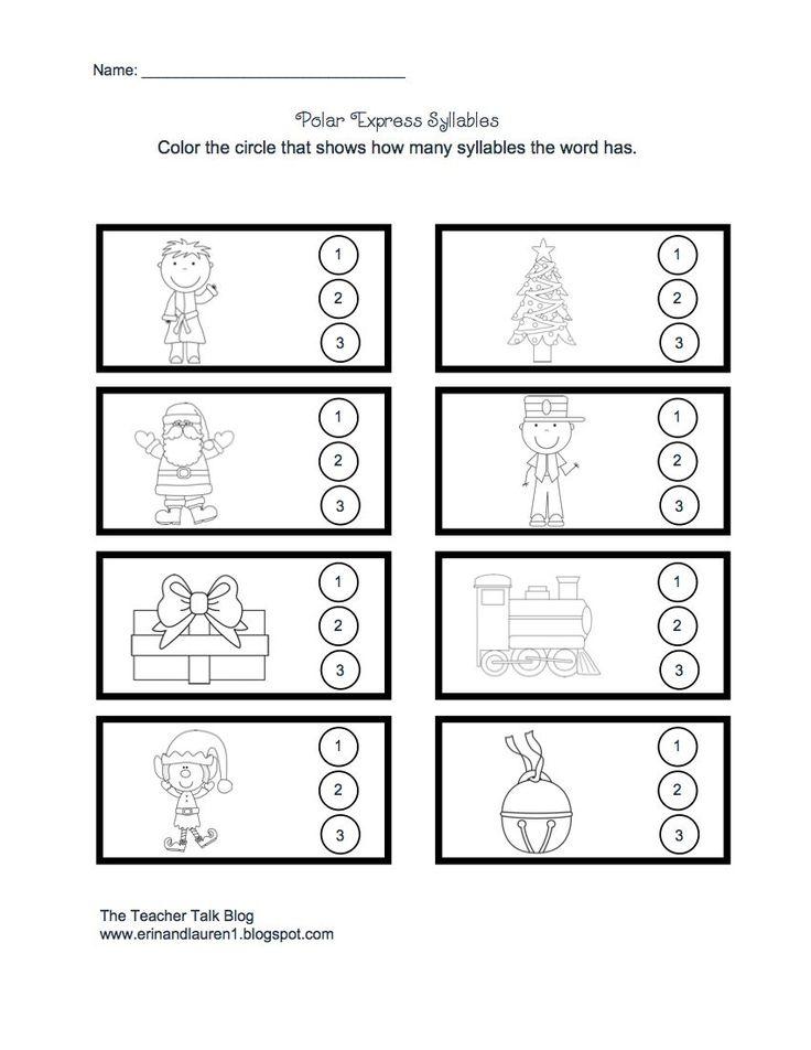Polar Express Syllable worksheet | Classroom | Pinterest