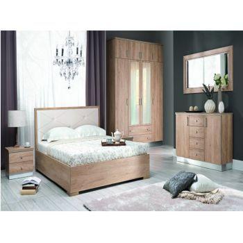 Set Dormitor Nebraska complet, Modern. Culoare: Stejar Nebraska. Material:Pal melaminat mat / lucios