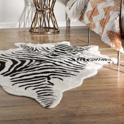 Hermosa Beach Hand Tufted Faux Cowhide Zebra Black Area