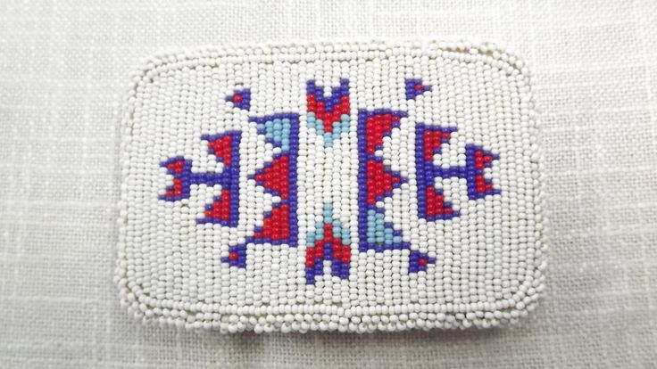 Vintage Native American Seed Bead Belt Buckle, Navajo Design Hand Beaded Tribal Belt Buckle, Traditional First Nations Dance Costume Buckle by OutrageousVintagious on Etsy