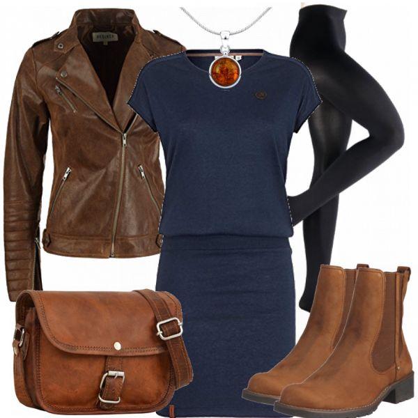 Dieses schöne Kleid von Naketano ist nicht nur super im Sommer zu tragen, sondern auch perfekt für den Herbst oder für den Winter. Wir haben uns dafür entschieden, dass dieses Kleid mit der Farbe braun besonders schön aussieht. Dazu trägt ihr eine schwarze blickdichte Strumpfhose und diese wunderschöne Lederjacke. Die passenden braunen Stiefeletten dürfen natürlich nicht fehlen! Dazu noch diese tolle kleine braune Ledertasche und ein wenig Silberschmuck in braun. Schnell, simple und einfach…