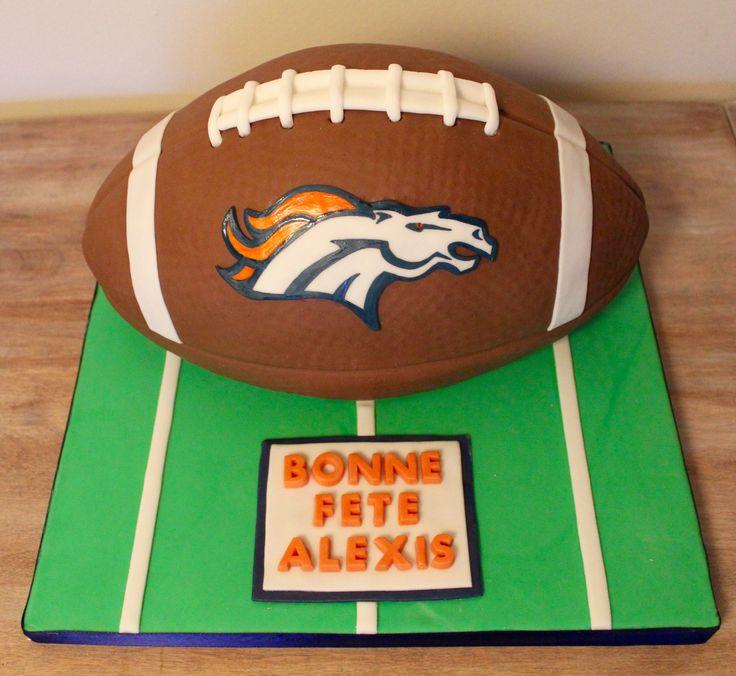 Bronco Denver football ball sculpted NFL cake