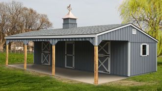 12x36 Stall Barn with 10ft Lean-to