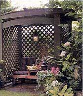 love.: Gardens Haven, Lattices Projects, Scentsibl Lattices, Big Backyard, Benches Lattices, Arbors Projects, Gardens Walks, Backyard Retreat, Outdoor Lattices Shelters