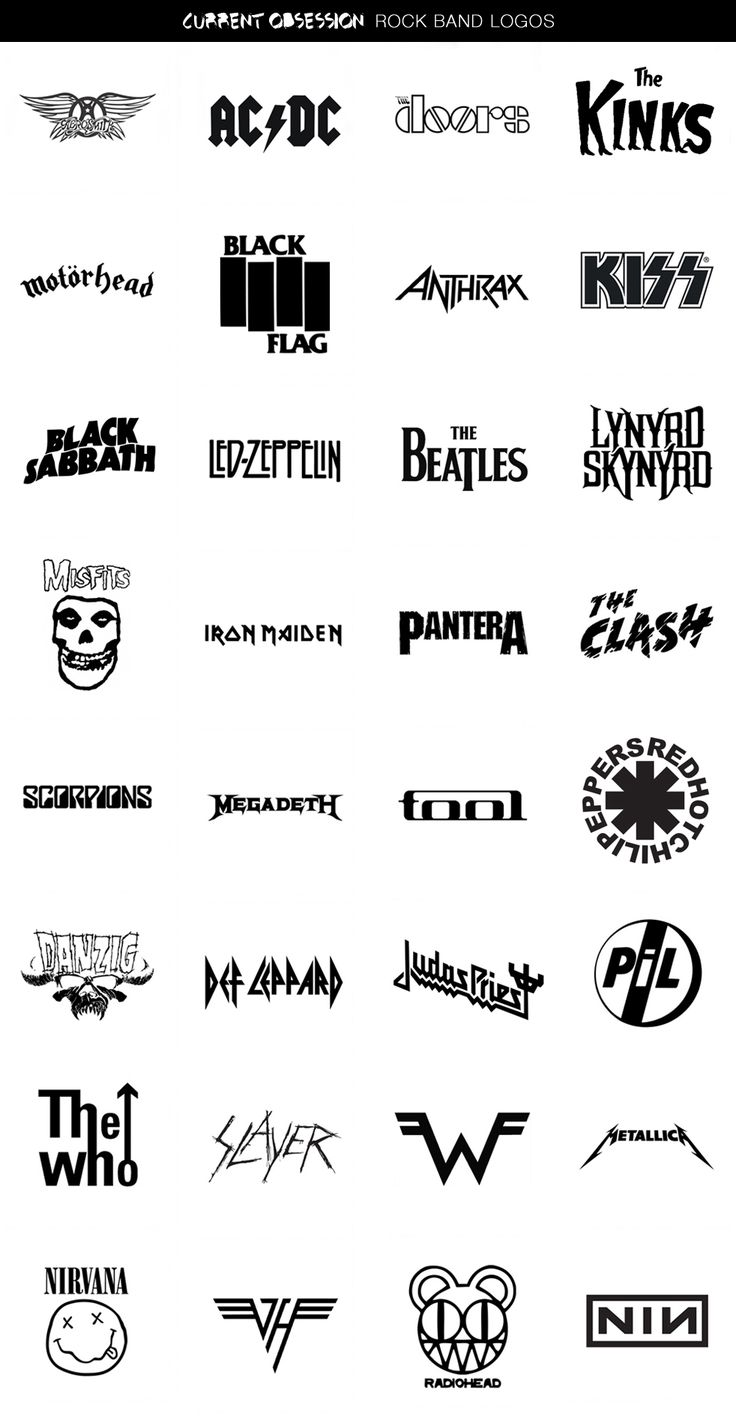 Current Obsession: Rock Band Logos