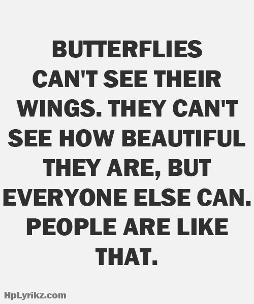 Butterflies can't see their wings, they can't see how beautiful they are,