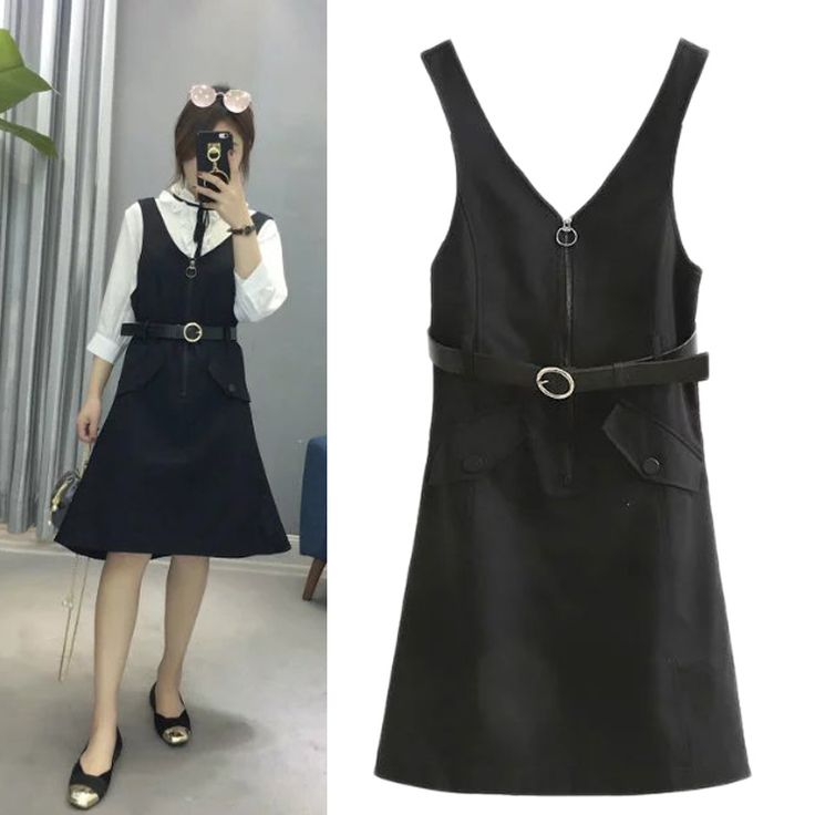 In the spring of 2017 new European style fashion dress all-match female zipper belt suspenders  loose slim