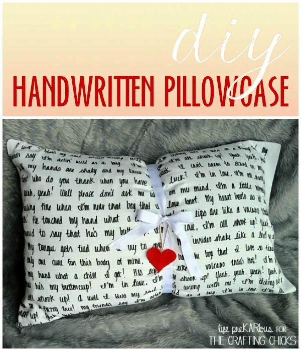 DIY Handwritten Pillowcase. Cute for Valentine's day or year round@