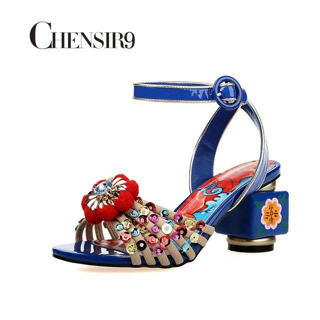 CHENSIR9 Натуральная Кожа Женщин высокой пятки сандалии Окрашенные цветы Блеск открытым носком сандалии плюс размер 34-43 MY004A