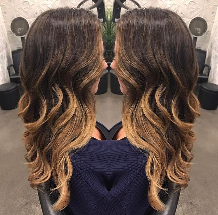 Caramel balayage! Brunette into caramel / blonde tips. Love!