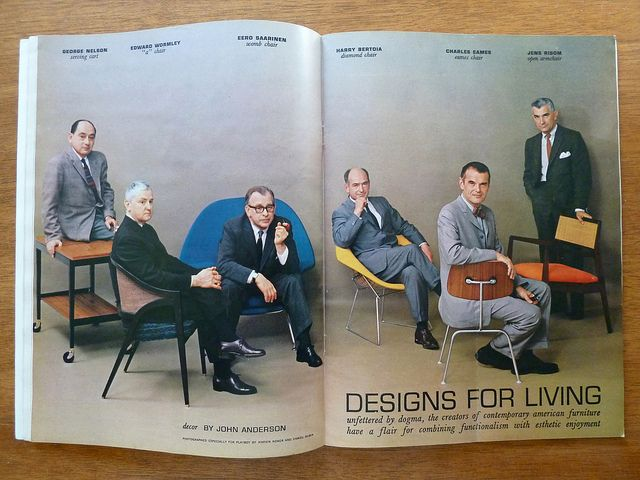 Playboy's 1961 article George Nelson, Edward Wormley, Eero Saarinen, Harry Bertoia, Charles Eames and Jens Risom in Playboy Magazine, July 1961