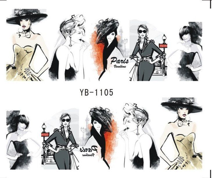 Nail Sticker Water Transfers Stickers Nail Decals SKETCH GIRL URBAN LADY FASHION SHOW  ORIENTAL STYLE YB1105-1110