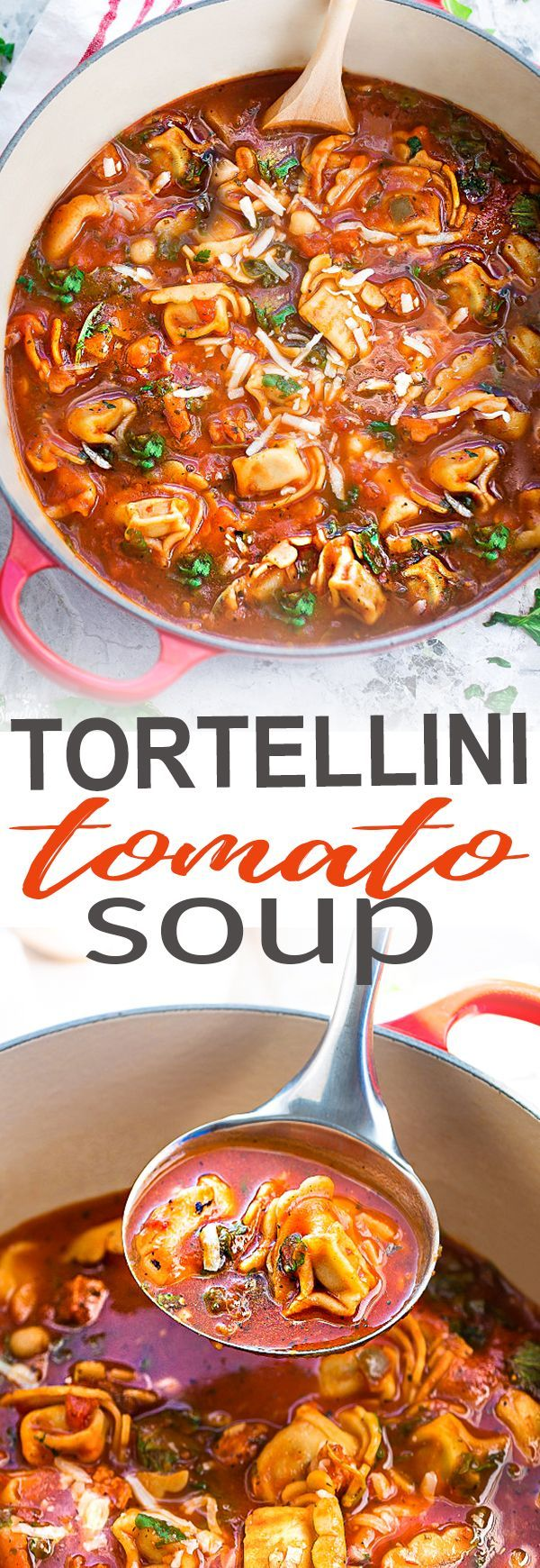 This delicious recipe for Italian Sausage Tortellini Tomato Soup is the perfect comforting soup for busy weeknights! Best of all, it's so easy to make and packed with with the most amazing flavors. Made with cheese tortellini, Italian sausage, arugula and