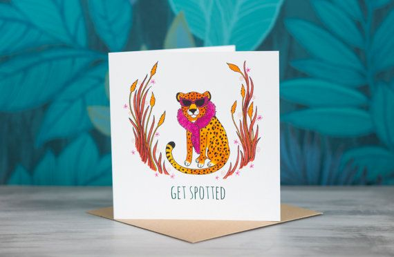 Cheetah Greeting Card - 'Get Spotted' by PaperVeilStationery now at http://ift.tt/2FT1ZQq