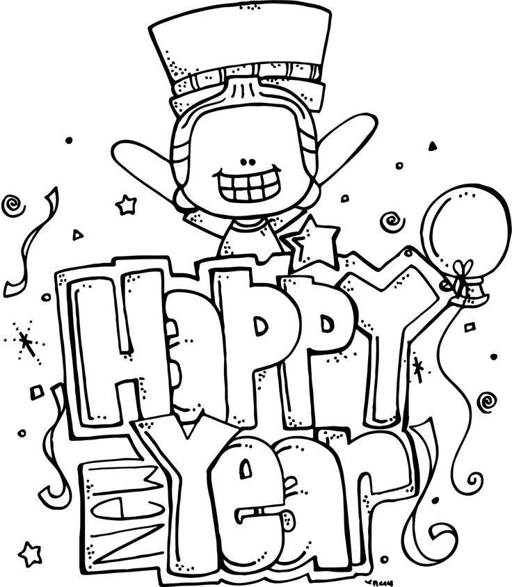 Happy New Yeat New year coloring pages, Happy new year