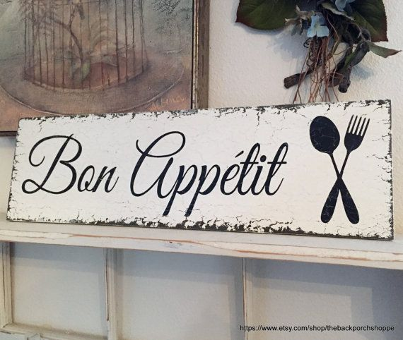 Bon Appetit French Signs Kitchen Signs Bon Appetit Signs Home Decor 7 X 24