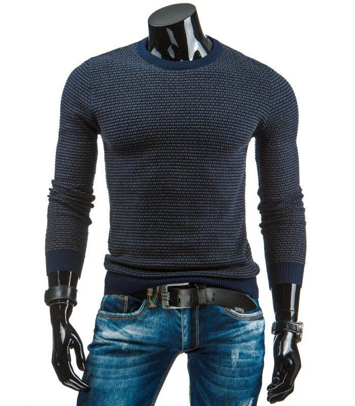 Tmavomodrá pánsky sveter, ktorý sa oblieka cez hlavu. Okrúhly výstrih. Vyrobený z mäkkého, na dotyk príjemného materiálu. Jednoduchý a pohodlný model. Módny dizajn a jedinečný vzhľad. Ideálny na každý deň. Zloženie: 100 % bavlna .