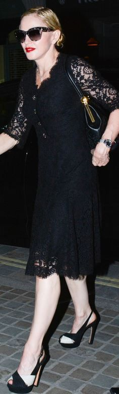 Madonna, black scallop dress