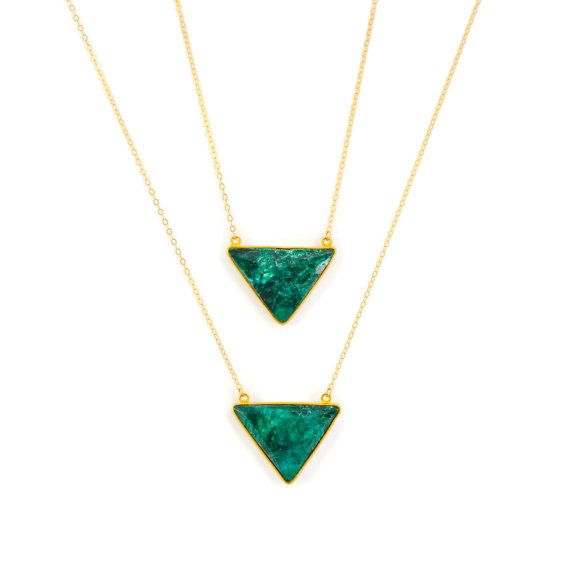 emerald green triangle necklace
