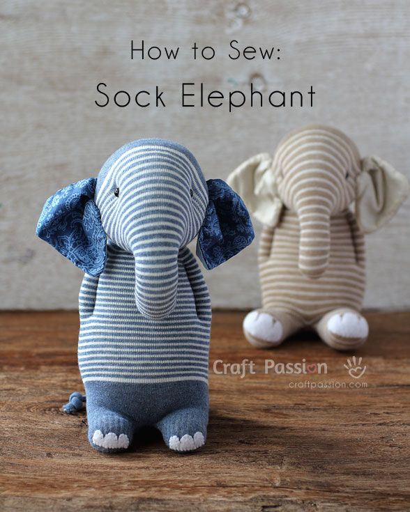 Sew sock elephant by using this ultimate pattern and tutorial. Easy to sew with guide from pictures and instructions. Great as handmade gift