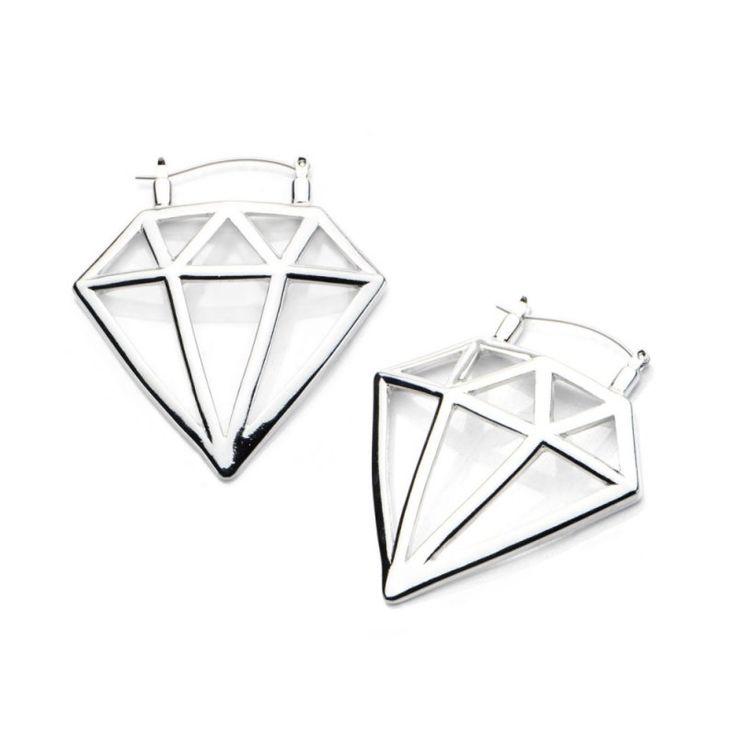 Flesh Tunnel Creolen - Silber - Diamant