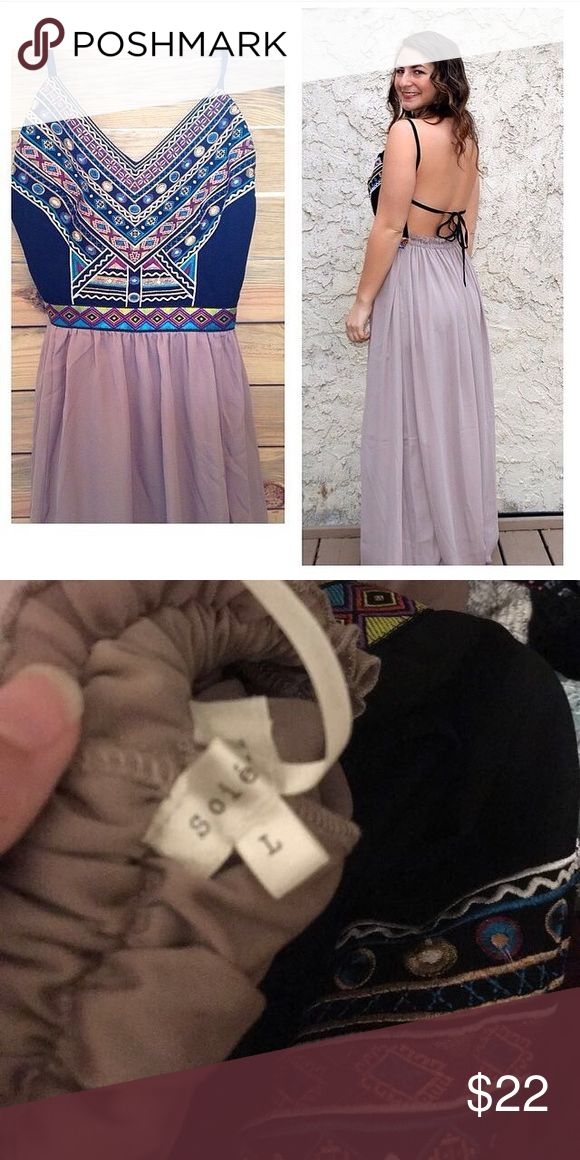 ⭐️ Boutique ⭐️ Beautiful Boho Maxi Dress Black and brown Maxi dress w no back. Lined. Sooooo cute! NWOT Dresses Maxi