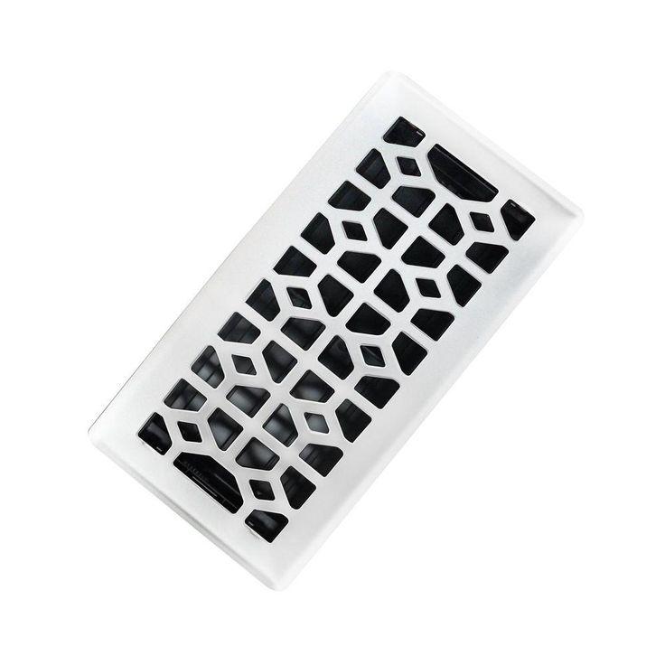 4 in. x 10 in. Abstract Steel Floor Register in White