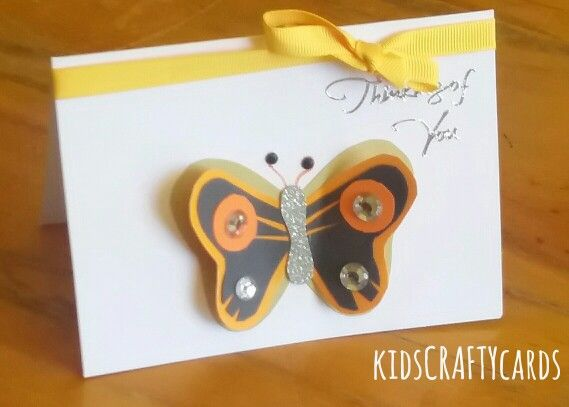 Butterfly card, orange and yellow -kidsCRAFTYcards