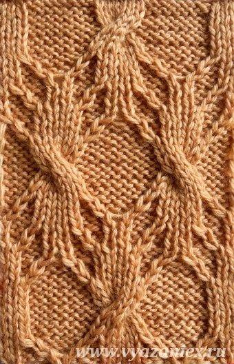 Сложные ромбы - образец узора с перемещением петель, связанного спицами, лицевая сторона